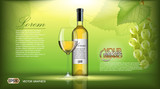 Vector Realistic Wine Bottle Mock up. White vine grapes. Green natural background with place for your branding. 3d illustration  future design or Advertise of  product
