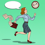 Fototapety Pop Art Business Woman with Briefcase Running to Work. Vector illustration