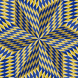 Checkered yellow blue six pointed star. Optical motion illusion abstract background. - 133503074