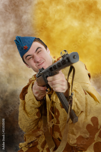 Poster Soviet soldier ww2 attack