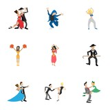 Dancing people icons set, cartoon style