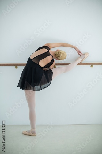 Ballerina stretching on a barre while practicing ballet dance Poster