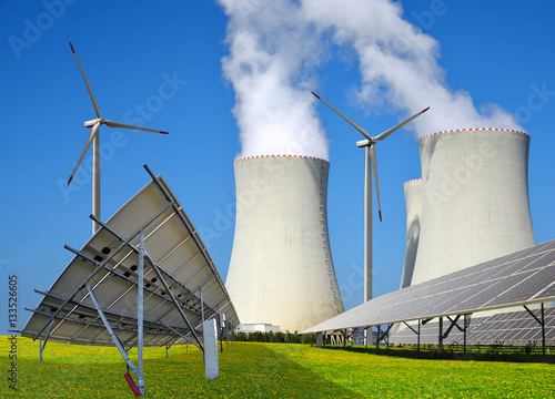 Poster Solar panels, wind turbines and nuclear power plant