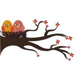 cute birds decorative card vector illustration design