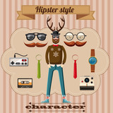 Hipster style character concept, cartoon style