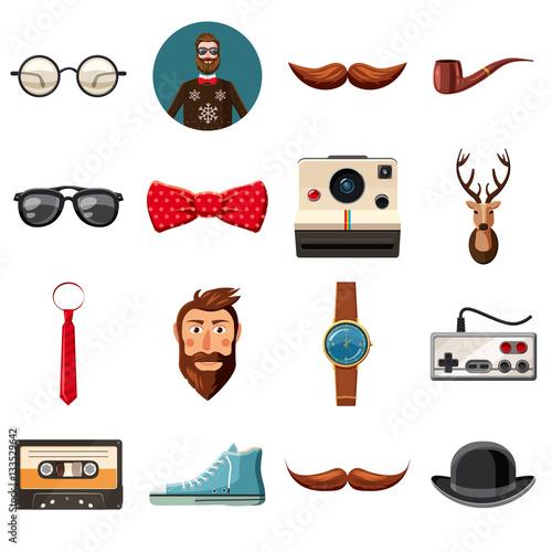 Fotobehang Hipster Hert Hipster items icons set, cartoon style