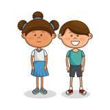 cute little kids characters vector illustration design