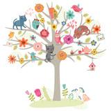 Cute vector card. Birds family on a tree.