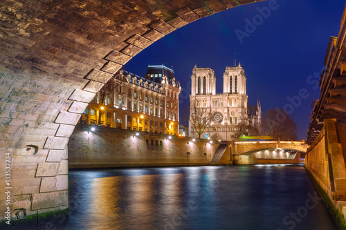 Poster Cathedral of Notre Dame, Petit Pont and riverside of Seine river in Paris at nig