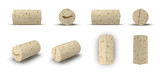 Used Wine Cork renders set from different angles on a white. 3D illustration
