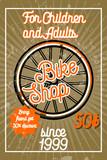Color vintage bike shop banner