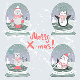 Set with cute hand drawn penguins and bears  - Merry Christmas greetings card