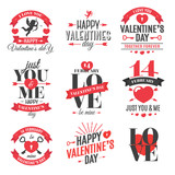 Happy Valentines day label set. Vector illustration