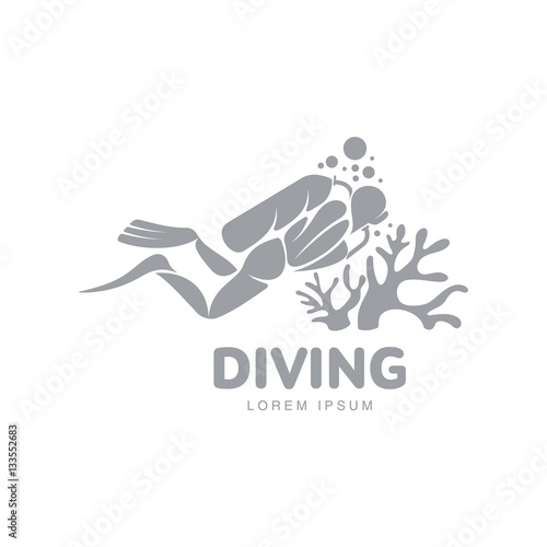 Black And White Graphic Diving Logo Template With Diver Swimming Underwater Vector Illustration Isolated On