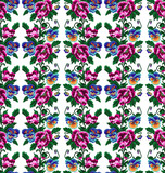 Color  bouquet of flowers (poppies and pansies) using traditional Ukrainian embroidery elements.Pink,vinous,blue, yellow and green tones. Seamless pattern. Can be used as pixel-art.