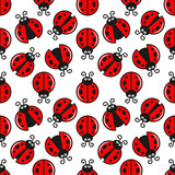 Ladybug Seamless On White Design Background.