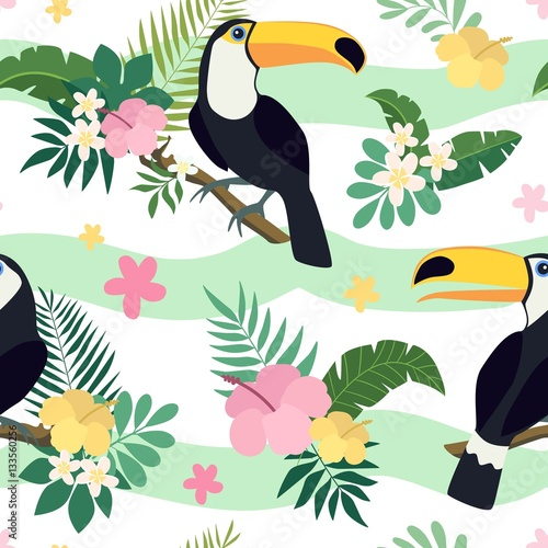 Vector seamless tropical pattern. Palm leaves, hibiscus, toucans, exotic flowers. Very bright colorful cute cartoon background (wallpaper, fabric) - 133560256