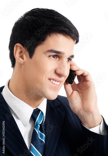 Poster young businessman with cellphone