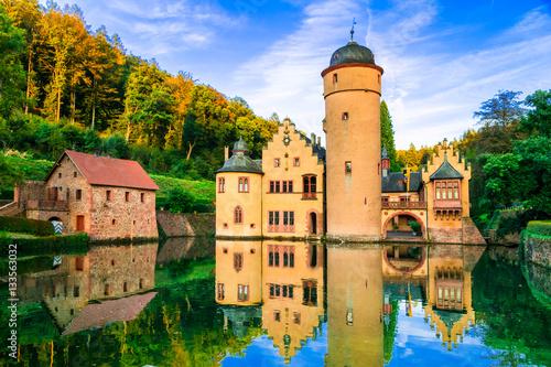 Fotobehang Freesurf Beautiful romantic castle Mespelbrunn in Germany