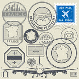Travel stamps or adventure symbols set France theme
