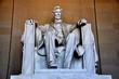 Washington, DC - April 10, 2014:  Daniel Chester French's sculpture of a seated President Abraham Lincoln inside the Lincoln Memorial