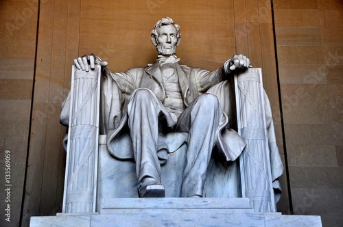 Washington, DC - April 10, 2014:  Daniel Chester French's sculpture of a seated Poster