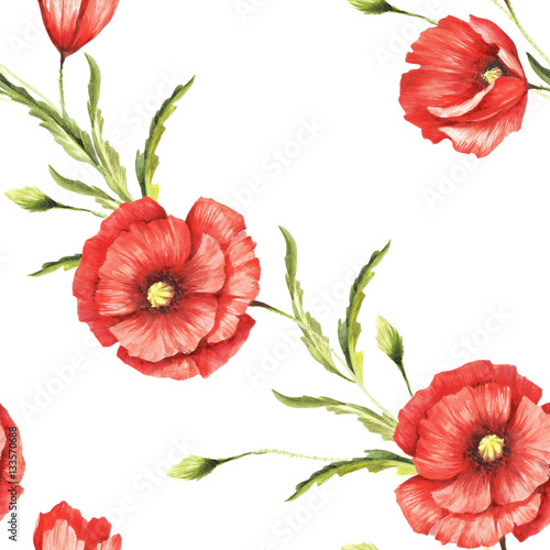Fototapeta Delicate seamless pattern with poppies. Watercolor illustration.