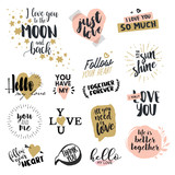 Valentine day signs collection. Hand drawn vector illustrations for greeting cards, love messages, social media, networking, web design. - 133570855