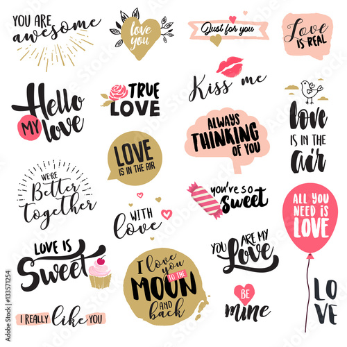 Poster Set of Valentine day stickers and badges