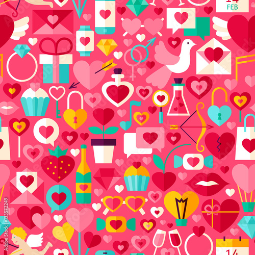 Cotton fabric Valentines Day Pink Seamless Pattern