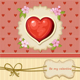 Valentines day card with a big heart with flowers and text