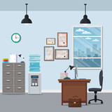 office workspace chair desk cabinet water dispenser certificate lamp window city silhouette vector illustration