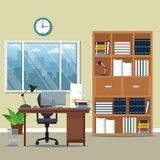 office workspace bookshelf armchair lamp books potted plant window city silhouette vector illustration