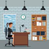 woman sitting work desk bookshelf clock wall brick vector illustration eps 10