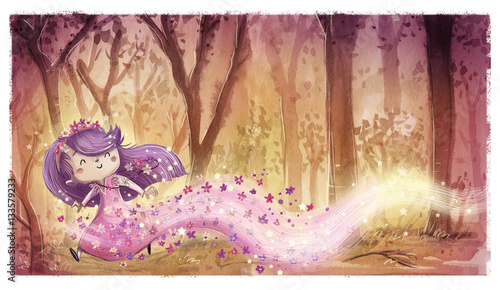 Plakat princess girl flower fairy