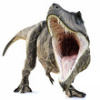 A Tyrannosaurus Rex attack on an isolated white background . 3d rendering