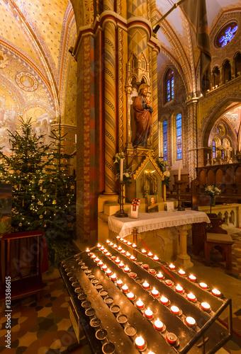 Christmas interior of Matthias Church in Budapest Hungary
