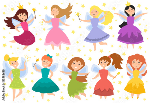 Fairy princess adorable characters vector. © creativeteam