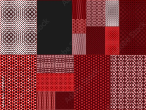 Poster Red gray black wallpaper with squares and rectangles