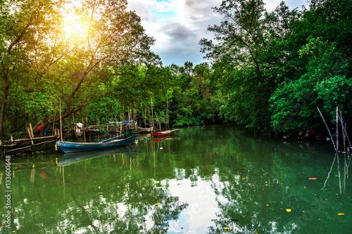 Poster, Tablou wooden boat in river