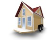 3D Rendered Illustration of a tiny house on a trailer.  House is isolated on a white background.