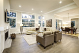 Chic light living room design with dark floors. - 133615252