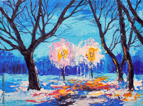 Abstract oil painting. Art brushstrokes watercolor. Modern and contemporary artwork. winter forest in the evening © Fresh Stock