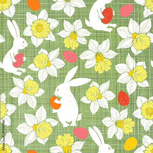 Materiał do szycia Easter Bunnies and Daffodils. Seamless vector pattern.