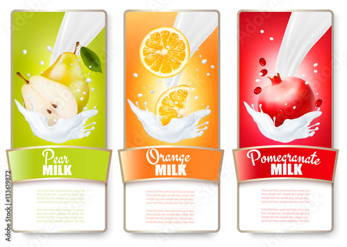 Set of three labels of fruit in milk splashes. Pear, orange, pom