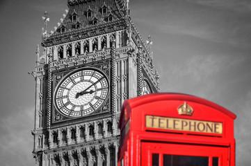 Red telephone box and Big Ben, London, UK