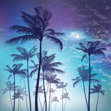 Silhouette of palm tree in moonlight. Vector illustration