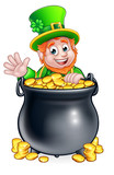 St Patricks Day Leprechaun and Pot of Gold