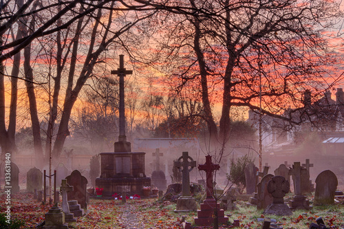 Poster Misty Dawn in St James's Churchyard