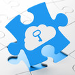 Cloud networking concept: Cloud With Key on puzzle background